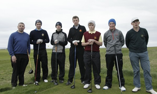 The magnificent seven. (L to R) Alan Duffy (Royal Tara), Jack Walsh (Castle), Shane O'Connor (Castlebar), James Kelly (Elm Park), Declan Kelly (Hermitage), Jonathan Doherty (Ballina) and Serryth Heavey (Co.Sligo) prepare to play-off at Co Sligo. Colin Wilton opted not to return to the course. Picture: Thos Caffrey / www.golffile.ie
