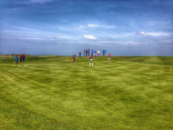 Conor O'Rourke (Naas) narrowly misses a birdie putt to force extra holes against Galway's Joe Lyons in the third round of the Radisson Blu-sponsored West of Ireland at Rosses Point. Picture © Brian Keogh
