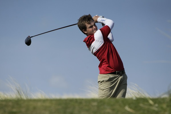 Jack Hume (Naas) drives on the 14th during the quarter-finals,   Picture: Thos Caffrey /  www.golffile.ie