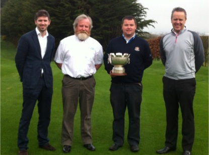 At the launch of the Jeffers Sportsturf 2014 Dundalk Senior Scratch Cup. L-R: Fergal Harte (Dundalk GC), Clive Jeffers (Jeffers Sportsturf), Aaron Grant (Dundalk  GC – 2013 Winner), Leslie Walker (Dundalk GC Professional)