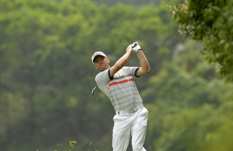Michael Hoey in action during the final round of the Volvo China Open at Genzon Golf Club in Shenzhen. Picture: Paul Lakatos/ OneAsia