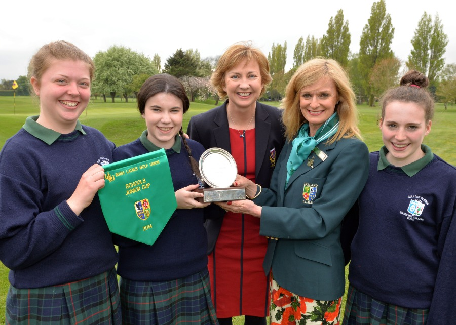 Liz Carton (Chairperson, Eastern District, ILGU) presenting Niamh Cronin (Ursuline College, Sligo) with the Junior Cup after their victory at the 2014 Irish Schools Senior & Junior Cup Finals at Milltown. Also in the picture are (from left) Maeve Rooney, Aisling O'Grady (Lady Captain, Milltown Golf Club) and Ella McDermott. Picture by Pat Cashman  cashmanphotpgraphy.ie