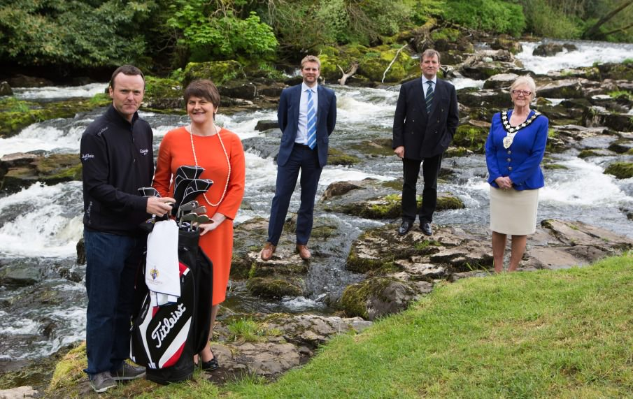 European Tour player and Tournament Ambassador Michael Hoey, Tourism Minister Arlene Foster, European Tour Commercial Director Mark Aspland, Galgorm Castle's Christopher Brooke & Ballymena Lady Mayor Audrey Wales at the official launch of the NI Open at Galgorm Resort and Spa, Ballymena.