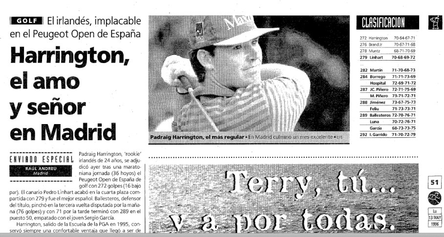 El Mundo Deportivo reports on Pádraig Harrington's maiden win nearly 18 years ago.