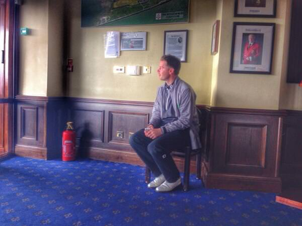 Gary McDermott waits for play to resume at Royal Dublin.