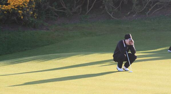 Gary McDermott focusses on his birdie putt at the 12th. He holed it. Picture by Jude O'Reilly http://www.judeoreilly.com