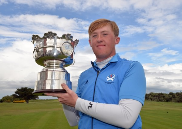 Winner Jamie Savage (Scotland) with the Irish Amateur Open Golf Championship trophy after his victory at The Royal Dublin Golf Club. Picture by Pat Cashman  cashmanphotography.ie