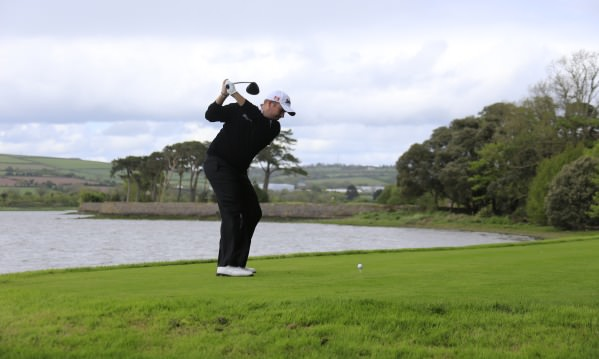 Shane Lowry takes on the 200-yard carry at the driveable sixth. Picture  www.golffile.ie