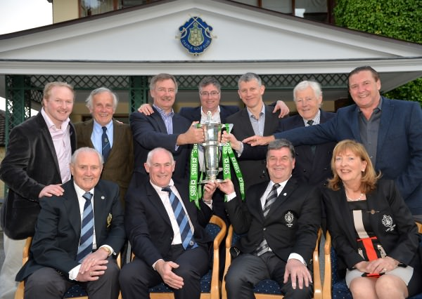 Brian Nevin (Captain, Castle Golf Club) with Blanaid Nally (Lady Captain, Castle Golf Club) and Jim Bradley (President, Castle Golf Club) celebrate Ireland winning the 2014 RBS Six Nations Rugby Championship with Michael Kearney (Manager, Irish Rugby Team) and club members who are former Irish Rugby Internationals at back (from left) Niall Hogan, Jimmy Kelly, Des Fitzgerald, Vinny Cunningham, Ciaran Clarke, Kevin Flynn and Frank Ennis. Picture by Pat Cashman cashmanphotography.ie
