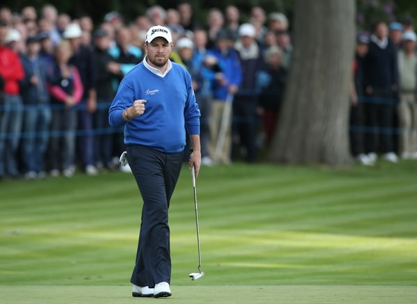 Pumped. Shane Lowry enjoyed his birdie at the last and his superb 70 was almost as impressive as the 64 he shot on Friday. Picture: David Lloyd / www.golffile.ie