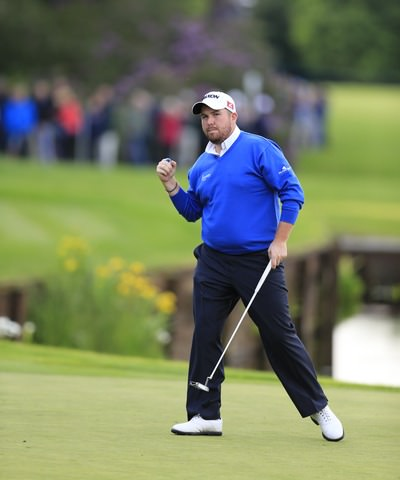 Get in. Lowry celebrates a job well done. Picture: Fran Caffrey  www.golffile.ie