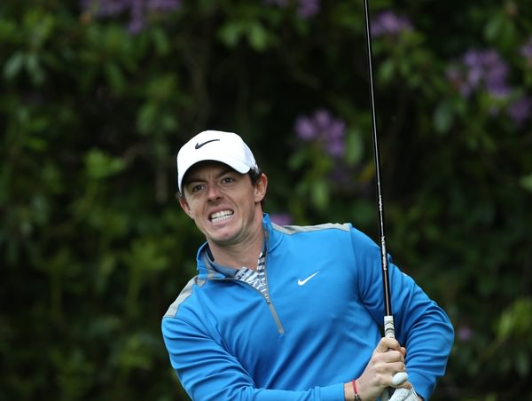 Rory McIlroy looks anxiously after a tee shot at Wentworth on Friday. Picture: David Lloyd /  www.golffile.ie