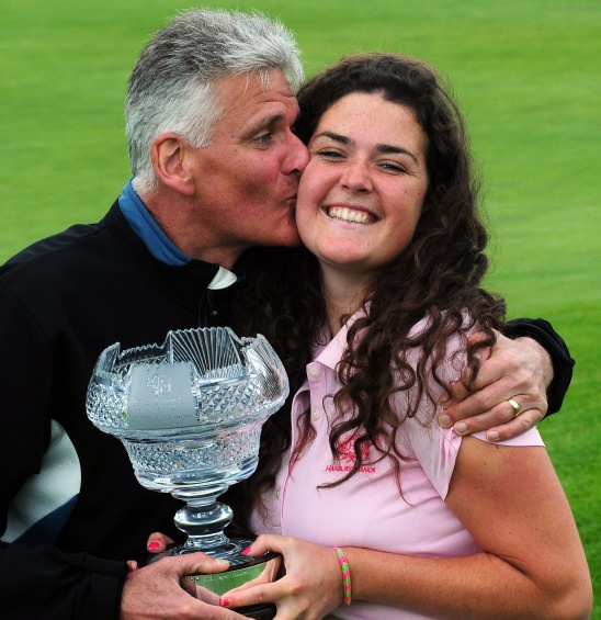 Winner Lucy Goddard (England) with her father Terry after her victory at the 2014 Irish Women's Open Strokeplay Championship at Douglas Golf Club today (Sunday 25th May). Picture: Pat Cashman cashmanphotography.ie
