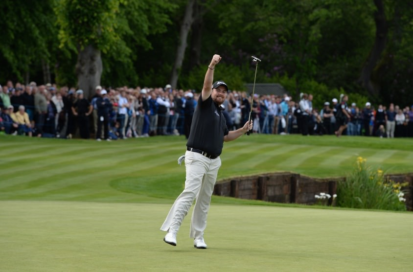 Shane Lowry celebrates the monster birdie putt that gave him second place in the BMW PGA on Sunday. Picture courtesy www.BMW-golfsport.com, by Ross Kinnaird / Getty Images