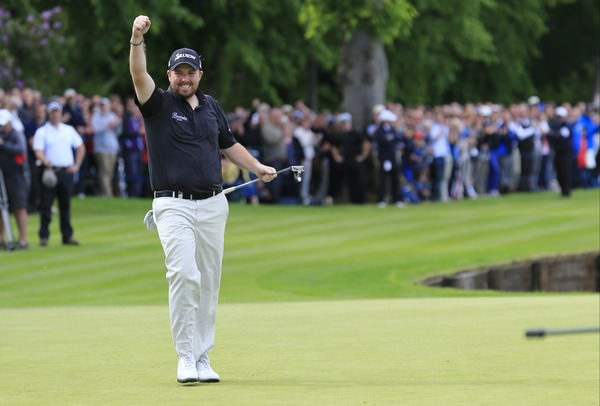 Shane Lowry celebrates his closing birdie on Sunday. Picture: Fran Caffrey/ www.golffile.ie