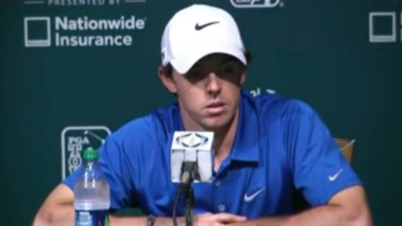 Rory McIlroy speaks to the media in Ohio.