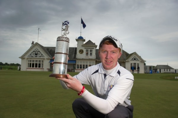 Gavin Moynihan followed in the footsteps of Philip Walton with victory in the Scottish Amateur Open Strokeplay at Panmure. Picture via  Scottishgolf.org .