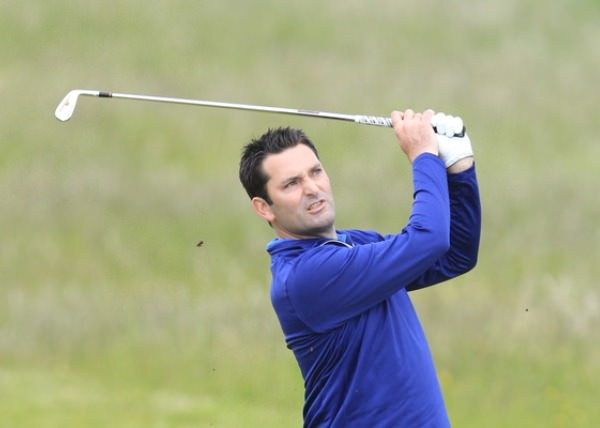 Gary O'Flaherty hits to the 10th in the third round. Picture: Thos Caffrey / www.golffile.ie