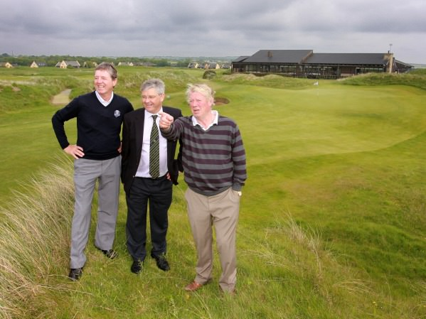 All set for the Irish Close Championship at Seapoint Golf Club, Co Louth, Course designers Des Smyth, and twice Irish Close champion Declan Branigan with Seapoint captain Dan Reynolds. Picture by Ronan Lang/Feature File Courtesy of Seapoint Golf Club.