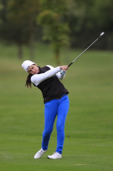 Hazel Kavanagh in action in last year's Irish PGA at Roganstown, where she became the first woman to make the cut. Picture: Thos Caffrey / www.golffile.ie