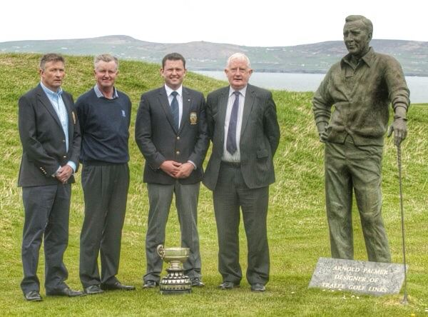 President Gerrard O'Sullivan, Richard Rafferty, Captain Alan Kelly and Frank Hayes of sponsors Kerry Group plc beside the commemorative statue of Arnold Palmer at Tralee Golf Links to announce details of the 2014 Kerry Scratch Cup.