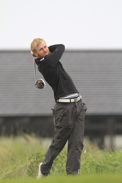 Stephen Walsh (Portmarnock) on the 10th tee during round one of the Irish Amateur Close at Seapoint. Picture: Thos Caffrey /  www.golffile.ie