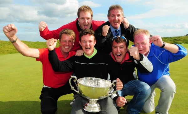 ohn Ross Galbraith (Whitehead) celebrates with fellow Whitehead Golf Club members (from left) Colin Farr (Club Professional), Darren Kane, Jeremy Jones, Chiz Parker and Terry Kane after his victory at the 2014 AIG sponsored Irish Amateur Close Golf Championship at Seapoint Golf Club today (11/06/2014). Picture by Pat Cashman www.cashmanphotography.ie