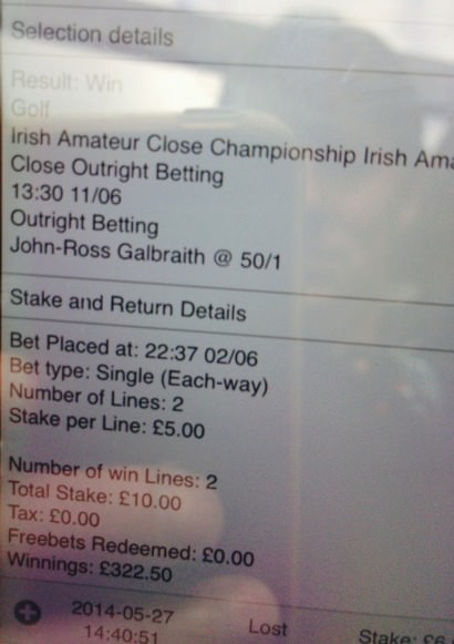 John-Ross Galbraith shows off the betting docket on his phone.