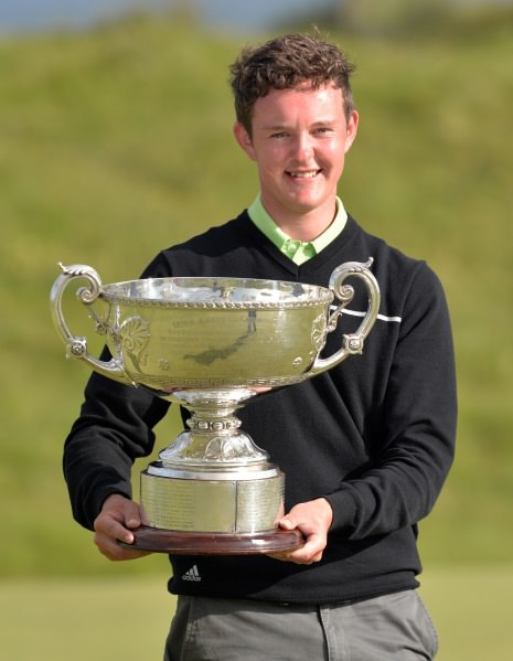 John Ross Galbraith (Whitehead) after his victory at the 2014 AIG sponsored Irish Amateur Close Golf Championship at Seapoint Golf Club today (11/06/2014). Picture by Pat Cashman www.cashmanphotography.ie