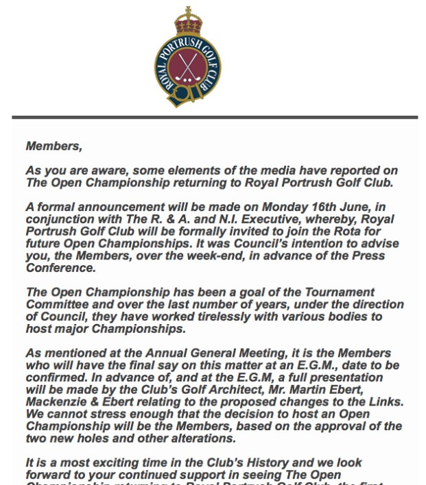 Royal Portrush has written to the membership. (Click to expand)