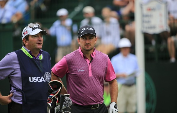 Graeme McDowell (NIR) and caddy Ken Comboy on the 6th tee during Thursday's Round 1 of the 2014 US Open Championship held at Pinehurst No.2 Course, Pinehurst, North Carolina, USA. 12th June 2014. Picture: Eoin Clarke  www.golffile.ie