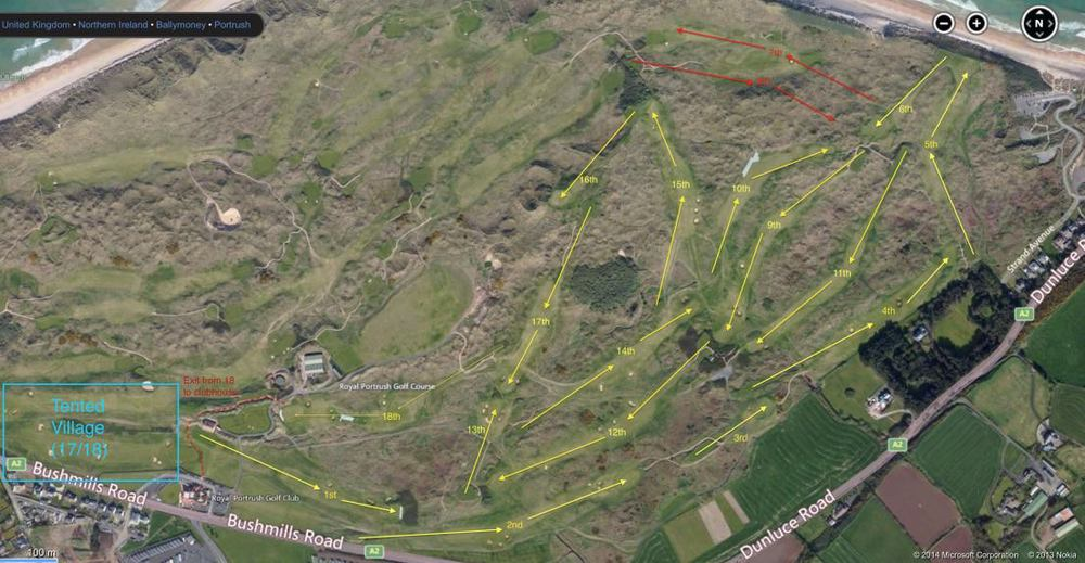 Possible new routing for the Championship Dunluce links for an Open Championship