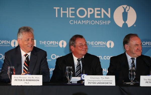 First Minister Peter Robinson Ileft) with R&A representatives at Royal Portrush. Picture: David Lloyd /  www.golffile.ie