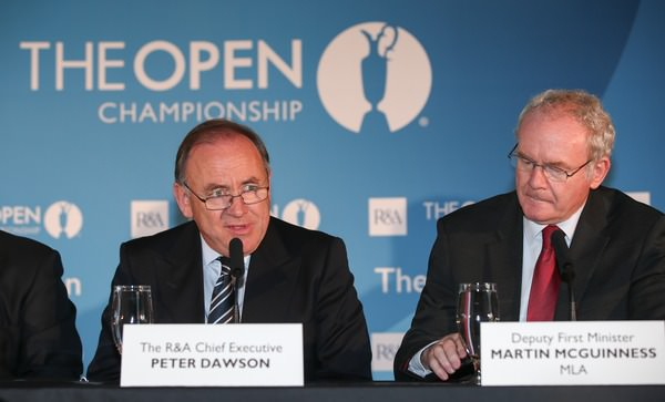 Peter Dawson and Martin McGuinness. Picture: David Lloyd /  www.golffile.ie
