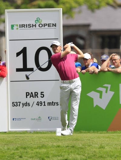 Michael Hoey cuts one down the 10th. Picture: Thos Caffrey / www.golffile.ie