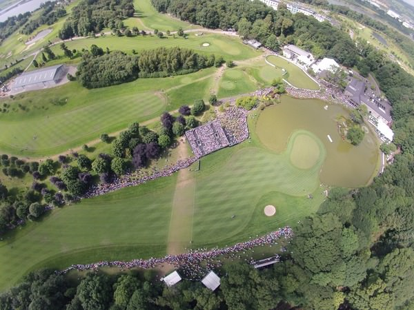 An aerial view of the 18th and 9th Hole and 1st Tee during final round of the Irish Open, Fota Island, Cork, Ireland. Picture: Fran Caffrey www.golffile.ie