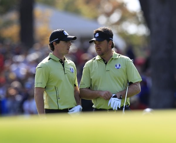 Europe's Graeme McDowell and Rory McIlroy during Friday's afternoon fourball matches at Medinah Country Club, 28th September 2012. Photo Eoin Clarke/ www.golffile.ie