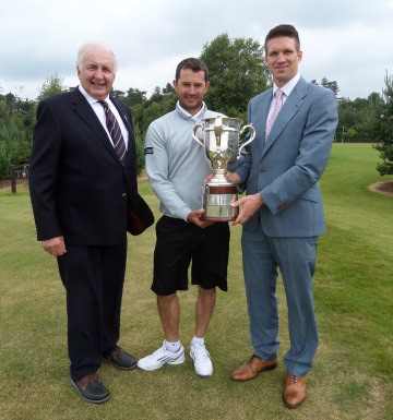 Peter Sinclair Chairman Ulster Branch, Gareth Maybin and Andrew Spence from sponsors Cathedral Eye Clinic at the launch of the 2014 North of Ireland Amateur Open.