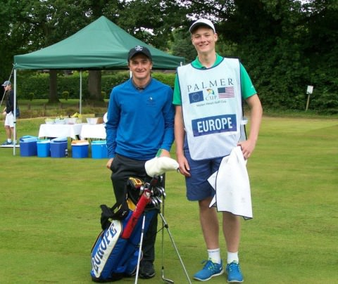 Paul Dunne and caddie at Walton Heath.