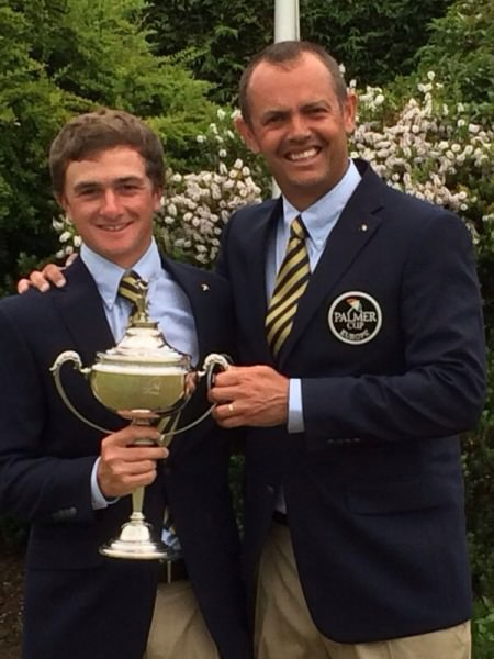 Paul Dunne and European non-playing captain, Andrew Coltart.
