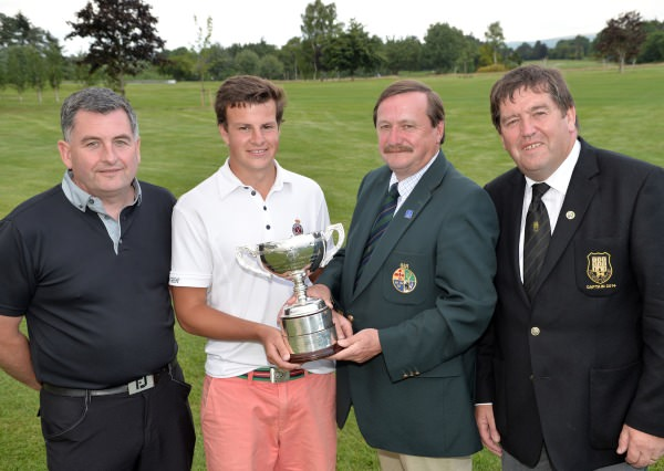 Kevin McIntyre (Chairman, Leinster Golf, GUI) presenting Jamie Knipe (Royal Portrush) with the Titleist sponsored Leinster Boys Open Championship trophy after his victory at Kilkenny. Also in the picture are Keith Bardon (Titleist Footjoy) and Denis Brophy (Captain, Kilkenny Golf Club). Picture by Pat Cashman www.cashmanphotography.ie