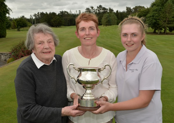 Winner Laura Webb (East Berkshire) with her 87 year old mother Sheila Bolton and her caddy daughter Becky after her victory  in the final of the 2014 Irish Senior Women's Close Championship at Athenry. Picture by Pat Cashman www.cashmanphotography.ie