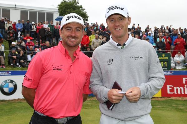 Graeme McDowell and Michael Hoey on the first tee at Le Golf National. Picture: David Lloyd /  www.golffile.ie