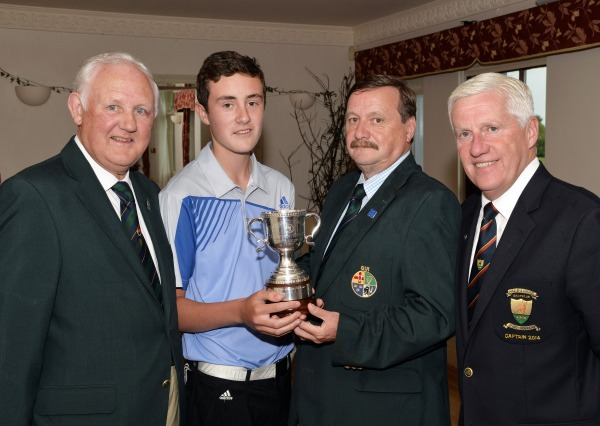 Kevin McIntyre (Chairman, Leinster Golf, GUI) presenting Robert Abernethy (Dun Laoghaire) with the Leinster Boys Under 15 Close Championship trophy after his victory at Ashbourne Golf Club (07/07/2014). Also in the picture are Jerome Clancy (Leinster Golf) and Tom Mulcahy (Captain, Ashbourne Golf Club). Picture by  Pat Cashman