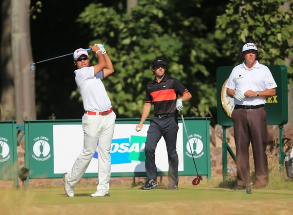 Hideki MATSUYAMA (JAP) , Rory MCILROY (NIR) and Phil MICKELSON (USA) during round two of The 142th Open Championship Muirfield, Gullane, East Lothian, Scotland 19/7/2013 Picture Fran Caffrey www.golffile.ie