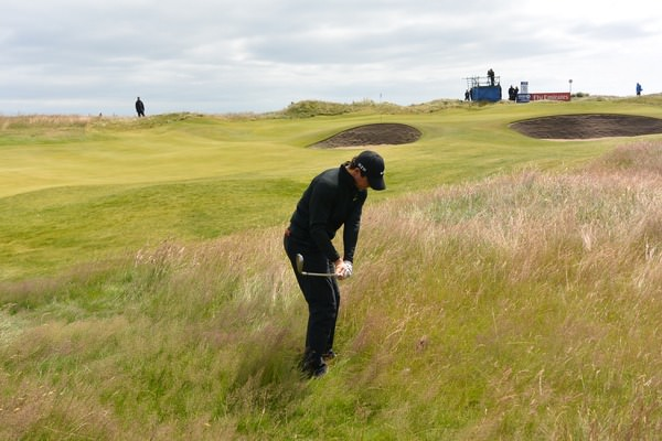 This pitch between two bunkers was one of the shots of the day by Rory McIlroy. Picture: Fran Caffrey  www.golffile.ie