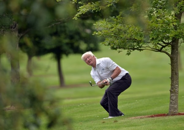 Maurice Kelly (Naas) playing from the trees at the 15th hole in the final round of the 2014 Tourism Malaysia sponsored Irish Seniors Amateur Close Championship at Tullamore Golf Club (11/07/2014) . Picture by Pat Cashman www.cashmanphotography.ie