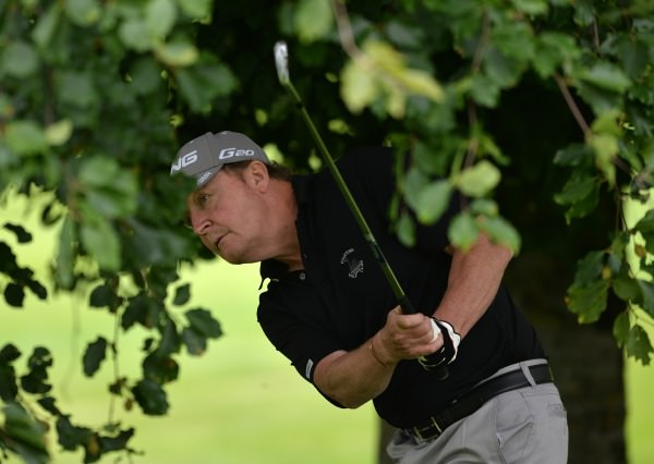 Neville Steedman (Courtown) playing from the trees at the 15th. Picture by Pat Cashman www.cashmanphotography.ie