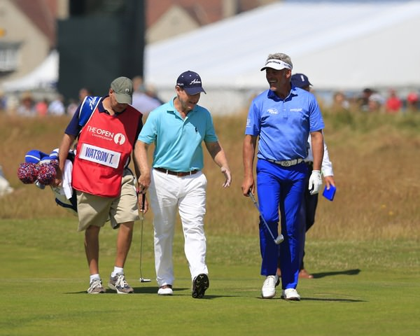 Tom Watson and Darren Clarke share a joke in the first round at Hoylake. Picture Eoin Clarke /   www.golffile.ie