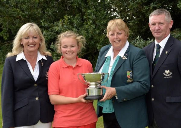 Pictured winner Annabel Wilson with  Mary Carroll (Lady Captain, Shannon Golf Club), Mary McKenna (President ILGU) and Karl Moloney (Captain, Shannon Golf Club)